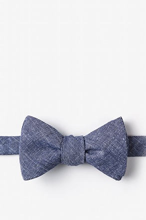 _Wortham Navy Blue Self-Tie Bow Tie_