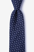 Navy Blue Cotton Zane Extra Long Tie