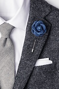 Denim Flower Lapel Pin