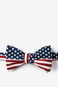Navy Blue Microfiber American Flag Butterfly Bow Tie