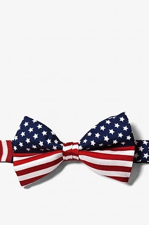 _American Flag Navy Blue Pre-Tied Bow Tie_