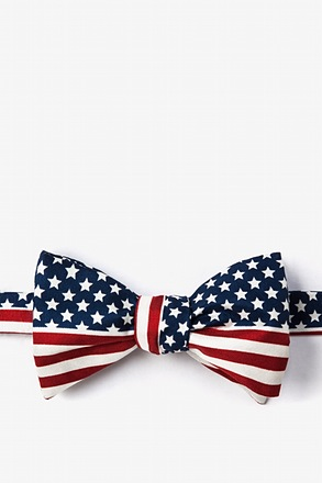 _American Flag Navy Blue Self-Tie Bow Tie_