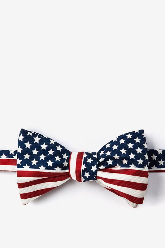 American Flag Navy Blue Self-Tie Bow Tie Photo (0)