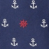 Navy Blue Microfiber Anchors & Ships Wheels Skinny Tie