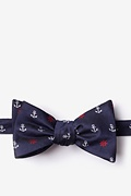 Navy Blue Microfiber Anchors & Ships Wheels Self-Tie Bow Tie
