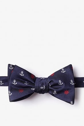 _Anchors & Ships Wheels Navy Blue Self-Tie Bow Tie_