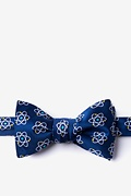 Navy Blue Microfiber Atomic Nucleus Butterfly Bow Tie