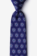 Navy Blue Microfiber Atomic Nucleus Extra Long Tie