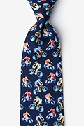 Bicycle Race XL Navy Blue Extra Long Tie
