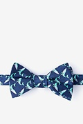 Navy Blue Microfiber Blue Whales Bow Tie