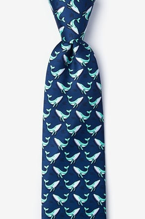 Blue Whales Navy Blue Tie