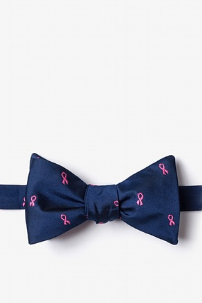 Breast Cancer Ribbon Navy Blue Self-Tie Bow Tie