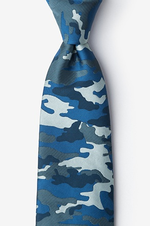 _Camouflage Woodland Navy Blue Extra Long Tie_