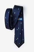 Checkmate Navy Blue Extra Long Tie Photo (2)