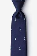 Navy Blue Microfiber Checkmate Extra Long Tie