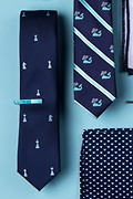 Checkmate Navy Blue Skinny Tie Photo (1)