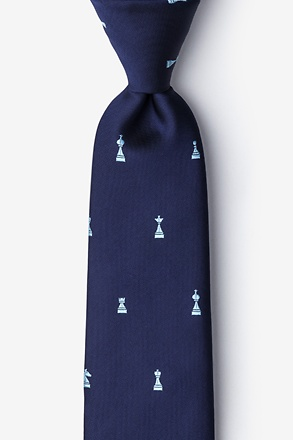 _Checkmate Navy Blue Tie_