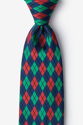 _Christmas Argyle Navy Blue Extra Long Tie_