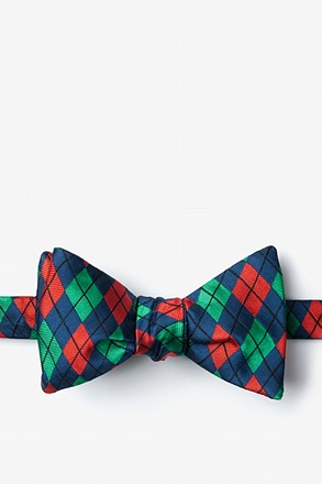 Christmas Argyle Navy Blue Self-Tie Bow Tie