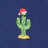 Navy Blue Microfiber Christmas Cacti Extra Long Tie