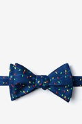 Navy Blue Microfiber Christmas Lights Bow Tie