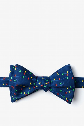 Christmas Lights Navy Blue Self-Tie Bow Tie