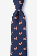 Navy Blue Microfiber Corgi Dogs Extra Long Tie