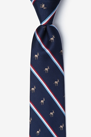 Democratic Party Donkey Stripe Navy Blue Skinny Tie