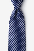 Navy Blue Microfiber Dollar Signs Extra Long Tie