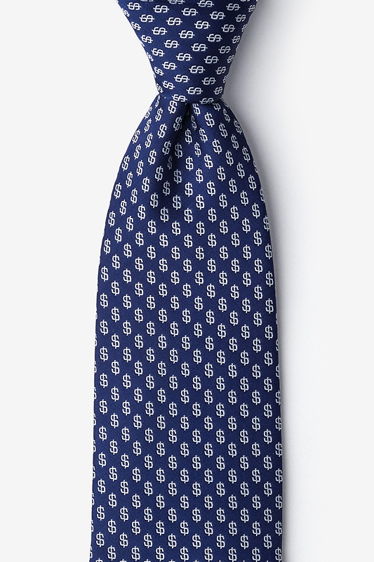 Dollar Signs Navy Blue Extra Long Tie Photo (0)
