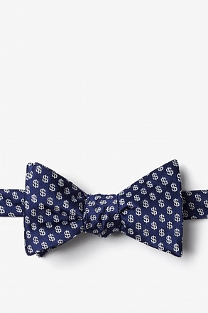 Dollar Signs Navy Blue Self-Tie Bow Tie