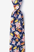 Navy Blue Microfiber Fast Food Floral Extra Long Tie
