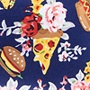 Navy Blue Microfiber Fast Food Floral Pocket Square