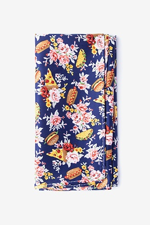 Fast Food Floral Navy Blue Pocket Square