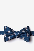 Navy Blue Microfiber Floating Astronauts Self-Tie Bow Tie