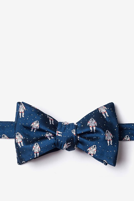 Floating Astronauts Navy Blue Self-Tie Bow Tie