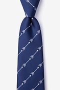 Navy Blue Microfiber Flying Arrows Extra Long Tie