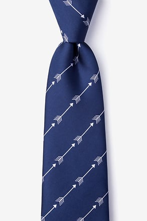 _Flying Arrows Navy Blue Extra Long Tie_