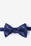Navy Blue Microfiber Flying Arrows Self-Tie Bow Tie