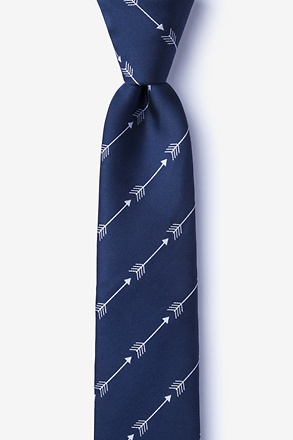 _Flying Arrows Navy Blue Skinny Tie_