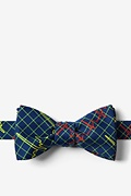 Navy Blue Microfiber Heart Beats Self-Tie Bow Tie
