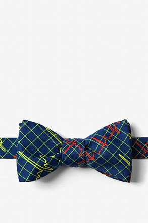Heart Beats Navy Blue Self-Tie Bow Tie