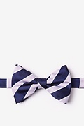 Navy Blue Microfiber Jefferson Stripe Pre-Tied Bow Tie