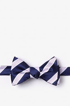 _Jefferson Stripe Navy Blue Self-Tie Bow Tie_