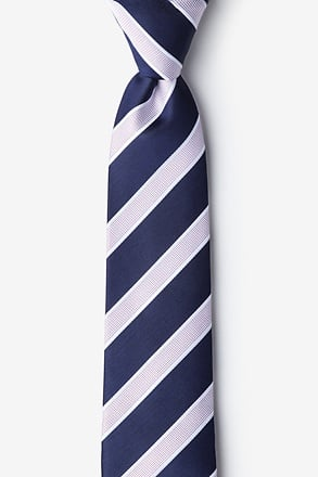 Jefferson Stripe Navy Blue Skinny Tie