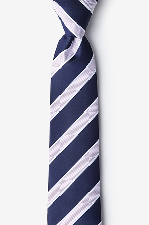 _Jefferson Stripe Navy Blue Skinny Tie_