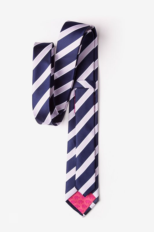 dbb64cf542e6 Navy Blue Microfiber Jefferson Stripe Tie For Boys | Ties.com