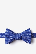 Navy Blue Microfiber Learning Cursive Butterfly Bow Tie