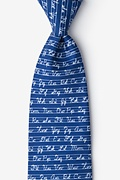 Navy Blue Microfiber Learning Cursive Tie