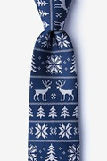 Navy Blue Microfiber Less Ugly Christmas Sweater Extra Long Tie